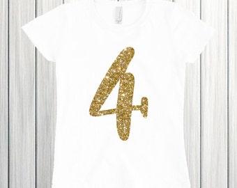Four year old birthday shirt Birthday girl shirt Four glitter birthday 4 birthday Four and Fabulous Four birthday outfit Fourth birthday