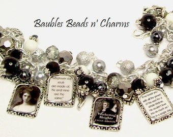 Emily Bronte Wuthering Heights Charm Bracelet, Literary Charm Bracelet Jewelry, Book Charm Bracelet