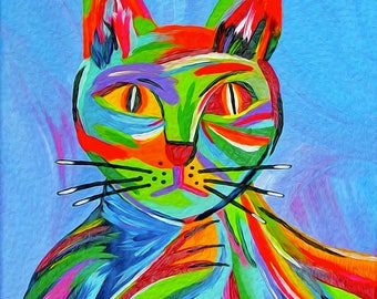 Cat Illustrations. Abstract Cat Art Print. Cat Lady Gift. Wall Art Cats. Giclee Print entitled Bad Karma.