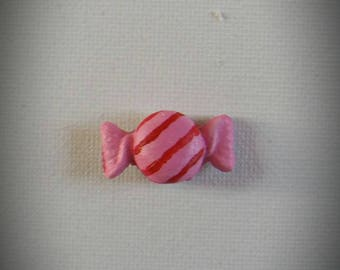 Set of 2 magnets magnets-candy pink with red stripes
