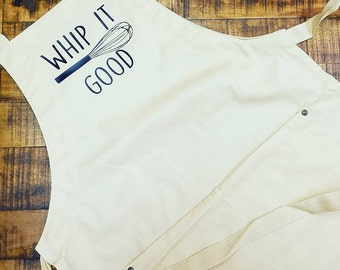Whip It Good Kitchen Pun Organic Cotton/Recycled Polyester Apron With Pockets