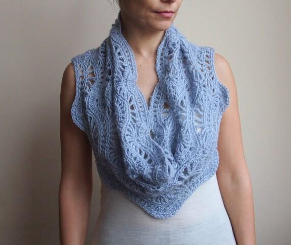 Crochet Pattern Lace Ripple Scarf Chevron Waves Infinity