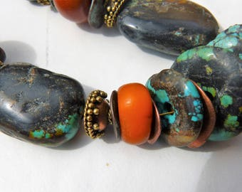 Antique Tibetan Turquoise, genuine Moroccan amber and African amber necklace