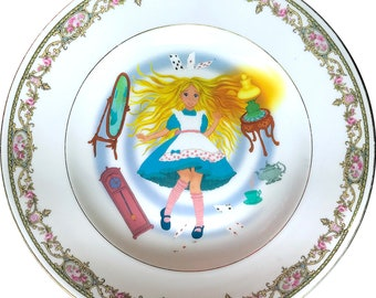 Alice in Wonderland - Falling down - Vintage Porcelain Plate - #0361