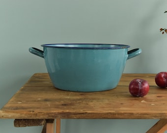 Vintage French Blue Enamel Cooking / Stewing Pot