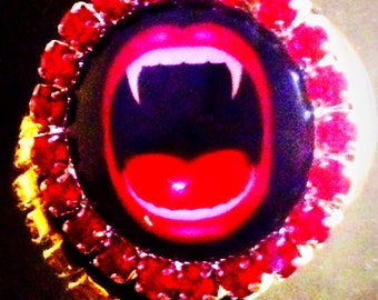 Vampire Glam retractable name badge holder with alligator clip or carabiner