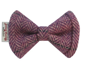 Harris Tweed Lilac Herringbone Designer Dog Bow Tie