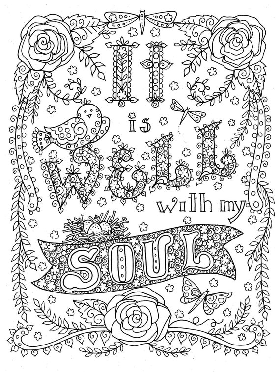 Digital Coloring Book Download : Digital download Hymn Coloring page It is Well with my Soul