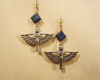 "Egyptian Goddess Isis silver tone earrings with lapis lazuli stone. 3.25"" or 8.5cm long x 2.25"" or 6cm"