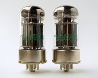 pair Sylvania JAN 6080WB vacuum tubes - copper rods - black plates -  matching date codes - 1960's new old stock - original boxes