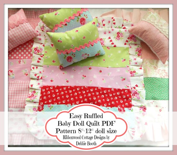 """Sewing Pattern PDF Easy Ruffled Baby Doll Quilt Pattern  8""""-12"""" Doll size"""