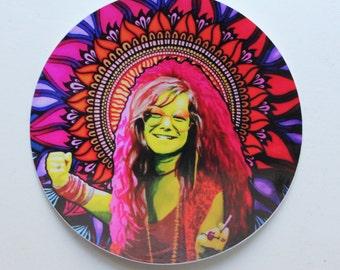 Janis Joplin mandala sticker, Mandala wall sticker, Vinyl sticker, Laptop sticker, Macbook sticker, Laptop decal, Hippie sticker.