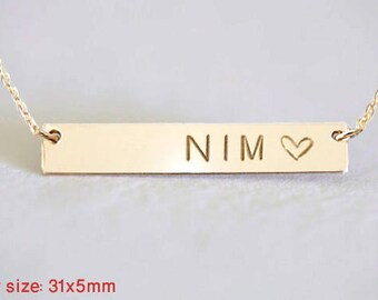 Personalized Necklace, Initial Necklace, Engraved Name Necklace, Gold Bar Necklace , Roman Numerals necklace, valentines day gift