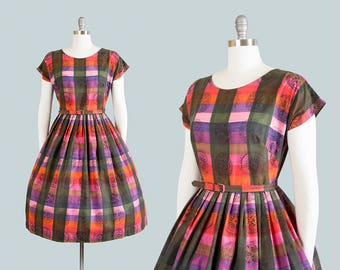 Vintage 1950s Dress | 50s Medallion Checkered Plaid Novelty Print Cotton Pink Purple Full Skirt Day Dress (medium)