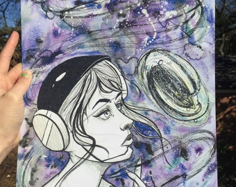 Lowbrow Space Girl Astronaut Watercolor Print
