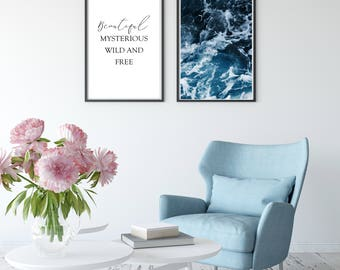Ocean | Quote | Wall Art | Home Decor | Wall Decor | Art Print | Set of Two | Inspiration