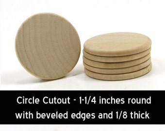 Unfinished Wood Round Circle Disk - 1-1/4 inches in diameter with beveled edges and 1/8 inch wooden shape (WW-WNC125)