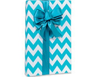 Turquoise and White Chevron STripe  Gift Wrap Wrapping Paper-18ft Roll w. 20Gift Tags