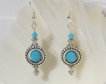 Swarovski turquoise crystal and silver earrings