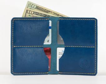 Mens Fatboy Wallet // Full Grain Horween Leather // Veg Tanned // Handmade in USA // Groomsmen Gift // Gifts for Him // Cobalt Blue