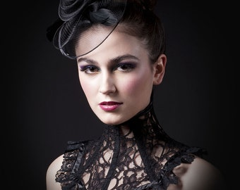 Victorian Black Lace Neck Corset
