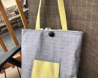 Gray tote bag, tote bag, handbag, yellow, gray, bears
