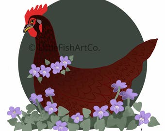 Rhode Island Red Hen and Violet Print