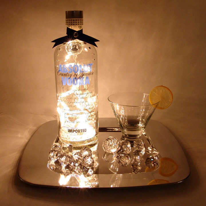 Decorated Alcohol Bottles For Birthday: Absolut Vodka Light Up Liquor Bottle Lighted Decorated