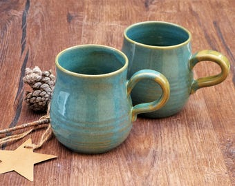 Two Light-Blue Wheel Thrown Mugs, Set of 2 Coffee Cups, Pottery Mugs, Handmade Cups, Pottery Cup,Housewarming gift,Couple Gift