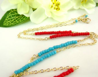 Turquoise and red seed bead gold filled necklace, 4th of July necklace, July 4th necklace, red and blue seed beaded necklace