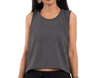 Sleeveless top, gray top, summer top, open back top, low cut back top, halter top, grey top : Urban Chic Collection