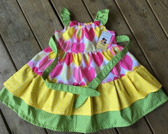Summer cotton hearts dress, 3T, 4T, 5T, 6T, pink, yellow, green