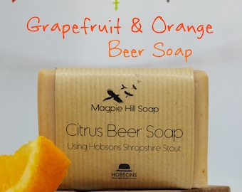 Citrus Beer Soap, Citrus soap, Grapefruit and Orange soap, Handmade soap for him. Great Christmas present
