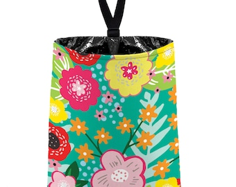Car Trash Bag // Auto Trash Bag // Car Accessories // Car Litter Bag Car Garbage Bag - Floral Burst Wintermint Car Organizer Flower Mint