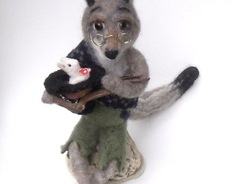 Needle Felted Sculpture by ElaineMary Old Man Coyote