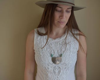 Hammered Nickel Half Moon Statement Necklace with Raw Turquoise