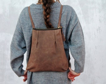 Small leather backpack, brown leather backpack, women backpack, leather backpack, handmade leather bag, for her, brown leather bag, handbags
