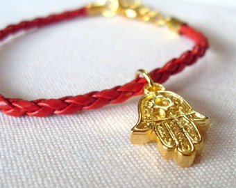 Gold Hamsa Charm Faux Leather Bracelet , for Her, for Him, Unisex, protection, Holiday present gift, stocking stuffer