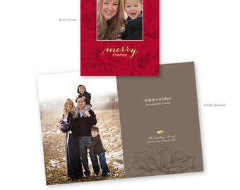 Christmas Card Template - Vertical Folded 5x7 - Photoshop Template - Holiday Blooms - 1163