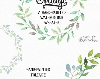 7 Watercolour Leaf Wreaths Clipart - Pretty Hand-painted Garlands Clip Art INSTANT DOWNLOAD PNGs Wedding Individual Files Leaves Digital Art
