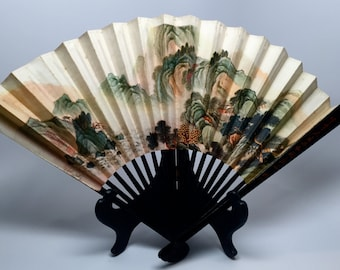 Vintage Asian Lacquer Hand Fan, Paper, Lacquered Bamboo, Printed Scenery, c1960, Souvenir