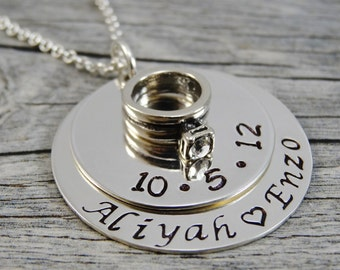 Hand Stamped Jewelry - Personalized Jewelry - Wedding Jewelry - Sterling Silver Couples Necklace - Engagement Ring Charm - Two Stack