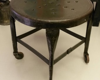 vintage metal office chair. Vintage Industrial Stool With Casters, Original Dark Green Finish, All Steel Stool, Made In USA, Quality Piece, Metal Office Chair
