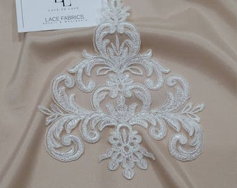 Ivory Lace applique, Ivory lace, French Chantilly lace applique, 3D lace, bridal applique, Applique M0061