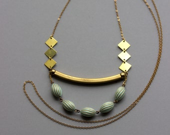 Mint And Gold Necklace / Curved Brass Bar, Diamond Shapes / Geometric Jewelry / Long Beaded Necklace