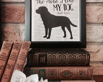 Personalized Dog Silhouette Dictionary Page Print - Mark Twain Quote - Wall Art -Choose a Breed - Boxer Lab Dachshund Bulldog Terrier