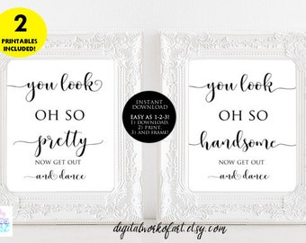 Wedding Bathroom Signs, Wedding Pretty and Handsome Signs, Bathroom Printable, Wedding Printable, Bathroom Sign, Wedding Sign, Look Oh So,