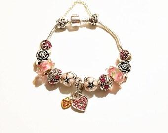 Pink Heart Crystal European Style Bracelet  Unbranded