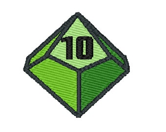 D10 dice,  Machine embroidery design, pattern download, 5 colors, digital embroidery designs