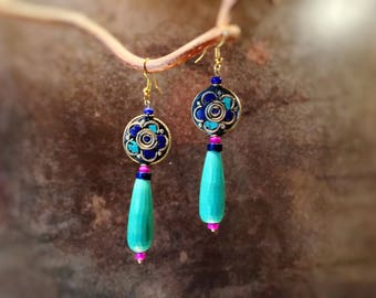 """Earrings ethnic chic and sophisticated """"Jiri""""-""""Stops Nepalese"""" Collection-"""
